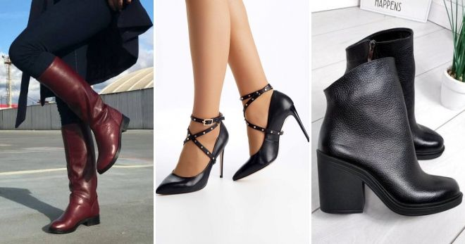 Кожаная обувь осень-зима 2019-2020 гладкая кожа