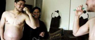 мужчина с животом и женщина чистят зубы