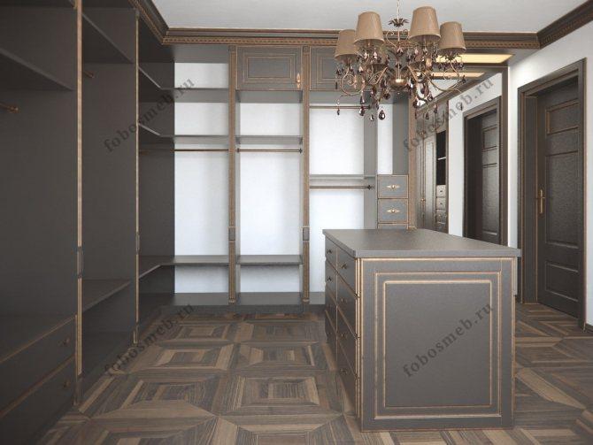 Мужская гардеробная комната в темном цвете
