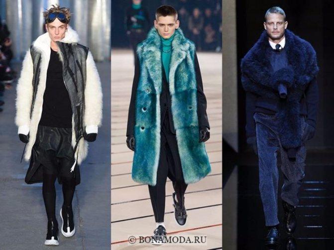 Мужская мода осень-зима 2017-2018: цветной искусственный мех