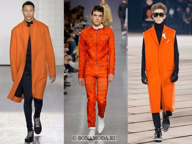 Мужская мода осень-зима 2017-2018: яркая оранжевая одежда