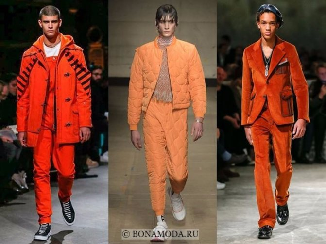 Мужская мода осень-зима 2017-2018: яркие оранжевые костюмы