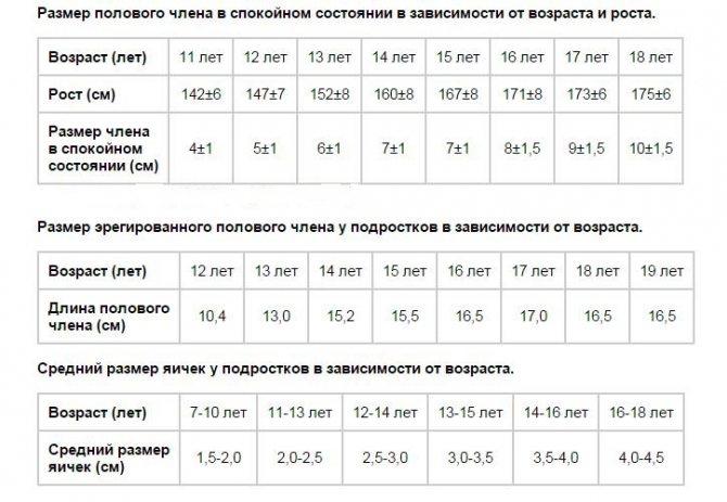 таблица нормы