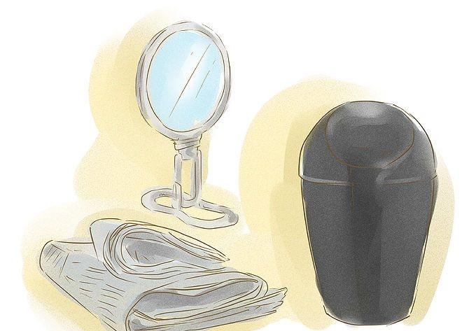 зеркало, полотенце и мусорное ведро